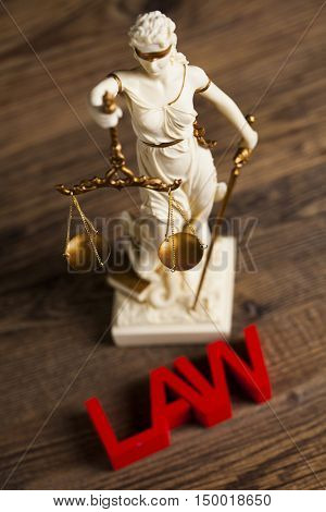 Statue of justice, burden of proof, law theme