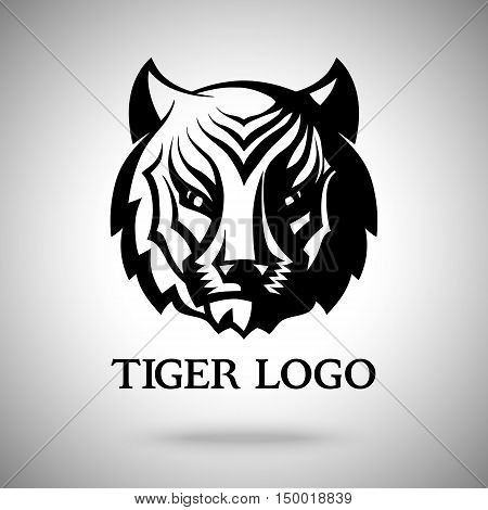 Vector logo template with tiger face. Template for badges, labels, icons, logotypes etc.