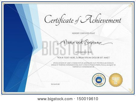 Modern certificate template for achievement appreciation participation or completion