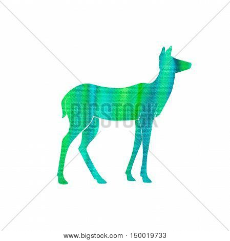 doe silhouette with hand drawn watercolor texture