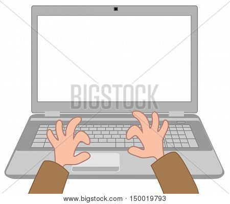 Cartoon human hands on the laptop on a white background
