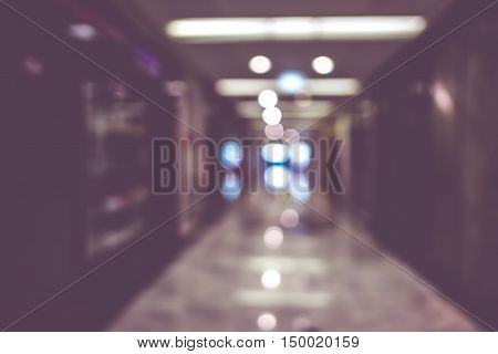 Blur Background,hallway Of Department Store When Store Closed ,vintage Filter