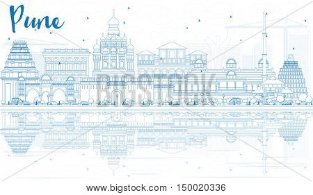 Outline Pune Skyline with Blue Buildings and Reflections. Vector Illustration. Business Travel and Tourism Concept with Historic Architecture. Image for Presentation Banner Placard and Web Site.