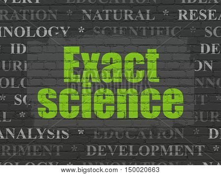 Science concept: Painted green text Exact Science on Black Brick wall background with  Tag Cloud