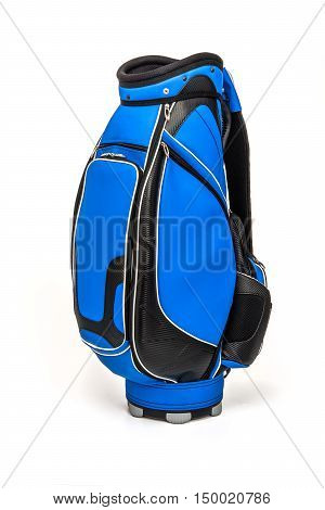 Golf leather bag in blue and black color on white background