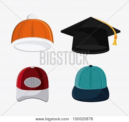 Types of hats. Accessory cloth costume and wear theme. Colorful and isolated design. Vector illustration