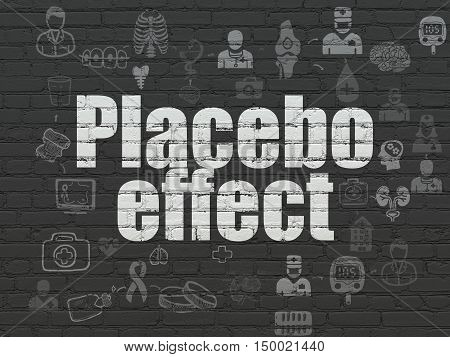 Medicine concept: Painted white text Placebo Effect on Black Brick wall background with Scheme Of Hand Drawn Medicine Icons