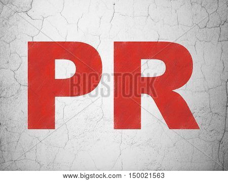 Advertising concept: Red PR on textured concrete wall background