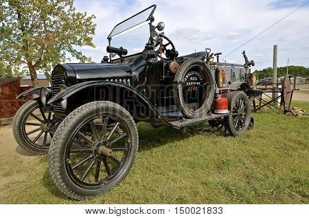 ROLLAG, MINNESOTA, Sept 1. 2016: An old restored classic Model T Ford is displayed at the West Central Steam Threshers Reunion in Rollag, MN attended by 1000's held annually on Labor Day weekend.