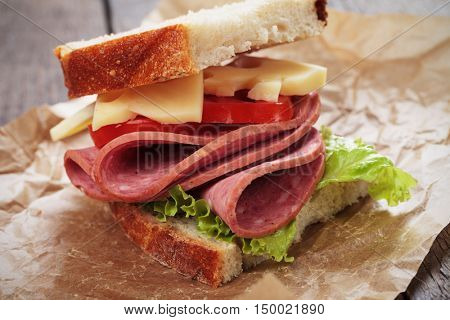 Baloney or Bologna sausage and cheese sandwich