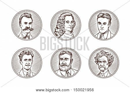 Portraits of famous literature authors in engraving styles. Scott Fitzgerald, George Orwell, Ernest Hemingway, Mark Twain, Friedrich Nietzsche, Voltaire. Vector set. illustration.