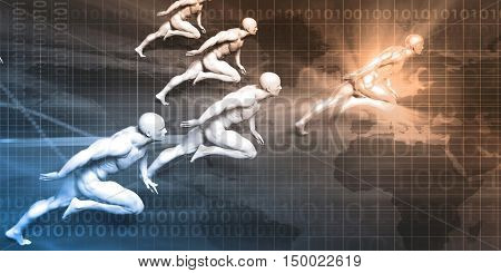 Business Coaching Concept with Men Running in Unison 3D Illustration Render