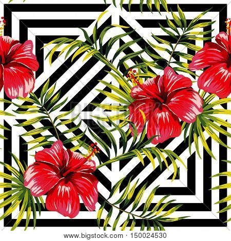 Painting floral paradise hand drawn tropic hibiscus flower with palm leaves on a black and white geometric background seamless vector pattern