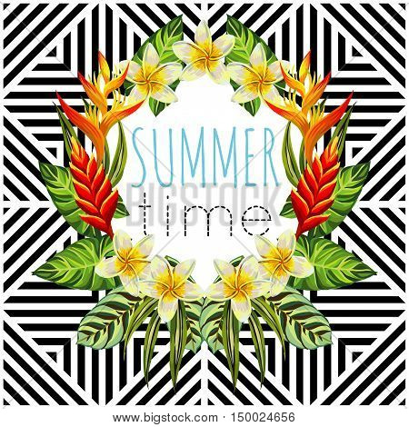 Tropic paradise flowers and palm leaves vector print in a trendy mirror style illustrator geometric black and white background. Slogan summer time