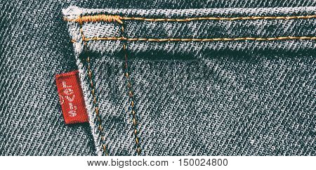 Estonia, Tallinn, Septemberr 28, 2016. Estonia. Tallinn Close up of the LEVI'S label on the blue jeans. LEVI'S is a brand name of Levi Strauss and Co, founded in 1853