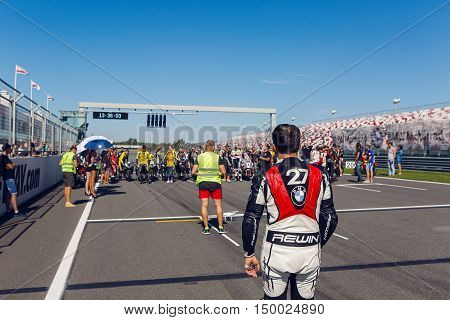 Moscow region, Russia - 27 August : route Moscow raceway riders going on the track for mass shootings in day of Russian cinema 27 August, 2016.