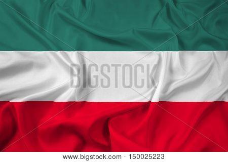 Waving Flag of Gorzow Wielkopolski Poland, with beautiful satin background. 3D illustration