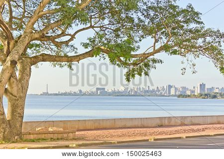 Porto Alegre Downtown View With Blue Sky