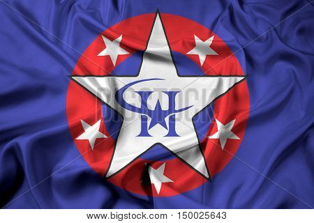 Waving Flag of Harlingen Texas USA, with beautiful satin background. 3D illustration