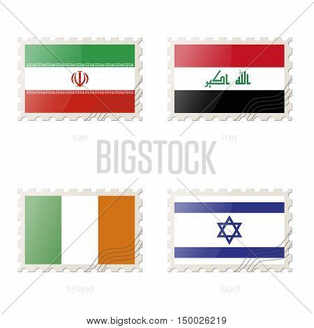 Postage Stamp With The Image Of Iran, Iraq, Ireland, Israel Flag.