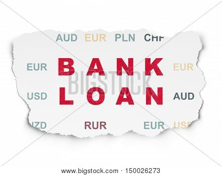 Currency concept: Painted red text Bank Loan on Torn Paper background with  Currency