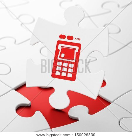 Money concept: ATM Machine on White puzzle pieces background, 3D rendering