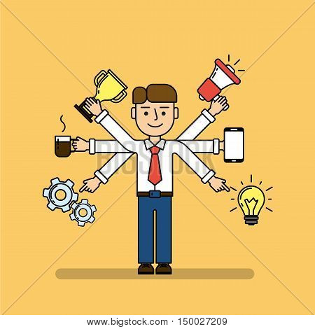 Isolated multitasking businessman. Talented funny man with six hands. Loudspeaker, idea, coffee, golden cup, gear and smartphone.