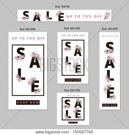 Sale web banners set. Floral design. Standart size. Templates for tag card poster