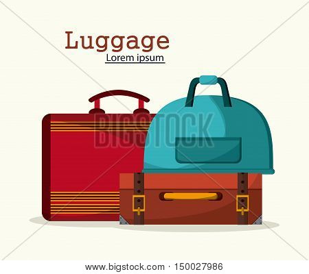 Bags icon set. Baggage luggage tourism and travel theme. Isolated and colorful design. Vector illustration