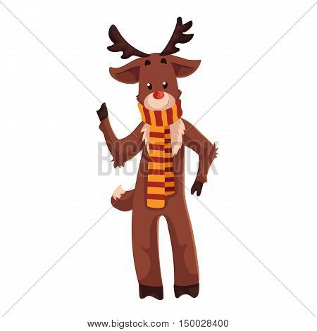 Santa's red nosed reindeer Rudolf standing in a striped scarf, cartoon vector illustration isolated on white background. Drawing of reindeer, traditional Xmas character, Christmas decoration element
