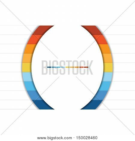 Template Infographic Colorful Semicircles and White Strips for 9 Text Areas.
