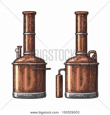 Row of tanks in brewery factory beer. Isolated on white background. Vintage color vector engraving illustration for web poster label invitation to oktoberfest festival and party.