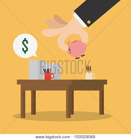 Businessman hand table piggy and documents icon. Business strategy solution and work theme. Colorful design. Vector illustration