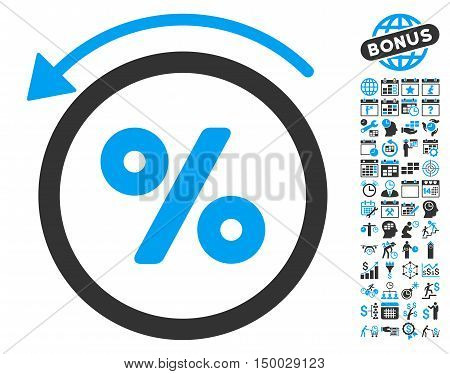 Rebate Percent icon with bonus calendar and time management pictograph collection. Vector illustration style is flat iconic bicolor symbols, blue and gray colors, white background.