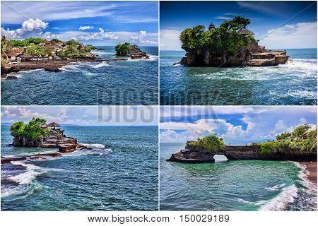 Set. Tanah Lot Temple on Sea in Bali Island Indonesia