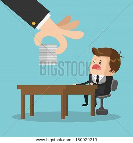 Businessman cartoon table and documents icon. Business strategy solution and work theme. Colorful design. Vector illustration