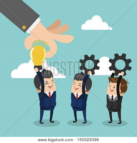 Businessman cartoon bulb and gears icon. Business strategy solution and work theme. Colorful design. Vector illustration