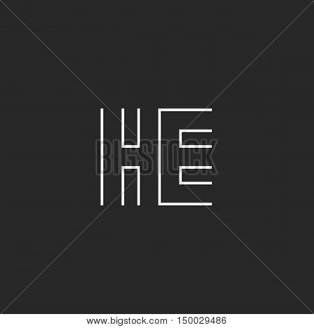 Hipster Capital Letters He Logo Combination Symbols, Couple Initials H E Thin Line Style, Black And