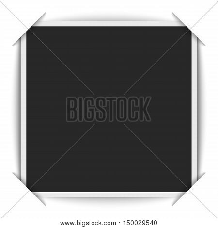 Realistic blank photos square shape inserted in a photo album. Instant photograph mockup is cut under the corners of the white paper scrapbook page. Presentation background.