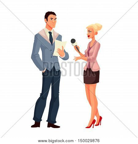 Beautiful female journalist, interviewee, cartoon style illustration isolated on white background. Full height reporter, journalist taking interview