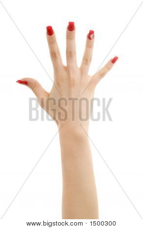Hand With Red Nails