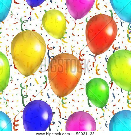 Colorful balloons exploding party popper with serpantin and confetti seamless pattern on white