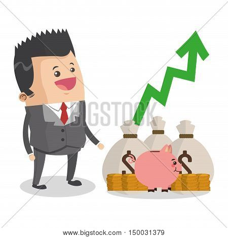 Businessman cartoon and money icon. Business strategy solution and work theme. Colorful design. Vector illustration