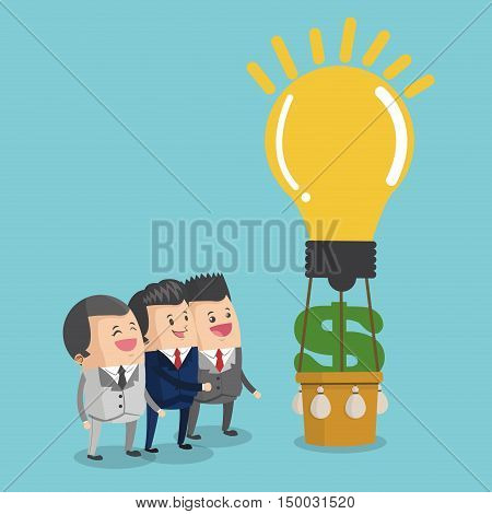 Businessman cartoon hot air balloon money and light bulb icon. Business strategy solution and work theme. Colorful design. Vector illustration