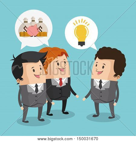 Businessman cartoon money and light bulb icon. Business strategy solution and work theme. Colorful design. Vector illustration