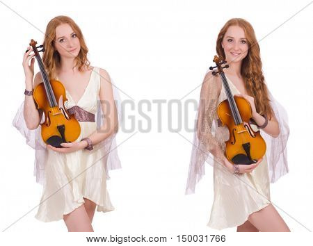 Woman with violin isolated on white