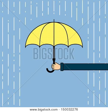 Yellow umbrella with rain. Hand holding umbrella. Concept of insurance agency, protection and safety. Weatherproof umbrella.