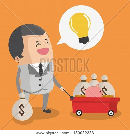 Businessman cartoon bulb and money icon. Business strategy solution and work theme. Colorful design. Vector illustration