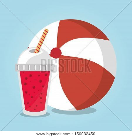 Smoothie drink and ball icon. Summer fresh and organic theme. Colorful design. Vector illustration