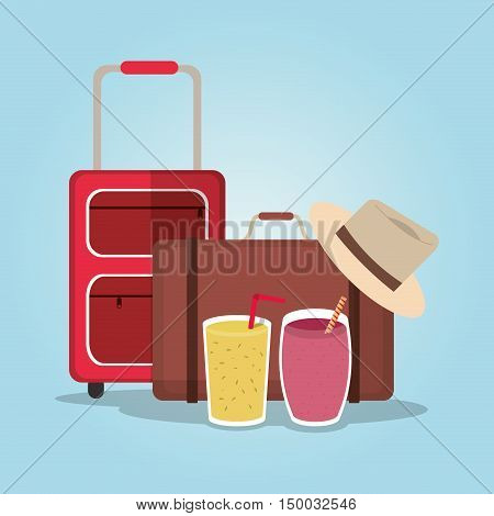 Smoothie drink luggage and hat icon. Summer fresh and organic theme. Colorful design. Vector illustration
